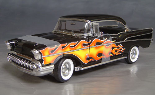 1957 Chevy Bel Air Flame Job Hardtop Side Pipes Details Diecast