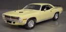 Click image to see more information about our 1970 Plymouth Cuda Sun Fire Yellow with Yellow Mod Top and chase car