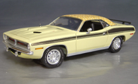 Click image to see more information about our 1970 Plymouth Cuda Yellow mod top/black 73/74!