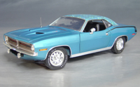 Click image to see more information about our 1970 Plymouth Cuda Blue mod top/black hockey!