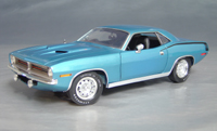 Click image to see more information about our 1970 Plymouth Cuda Blue chase/black hockey!