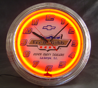Click image to see more information about our Fred Gibb Chevrolet Nostalgic Neon Clock!