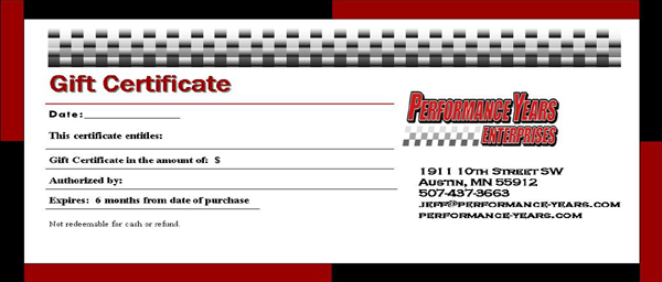 Gift Certificate for any amount..! Please call or Email with $ amount