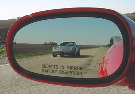 'OBJECTS IN MIRROR RAPIDLY DISAPPEAR' mirror decal