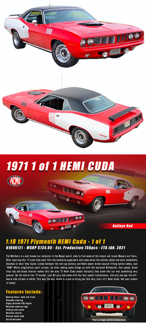1971 Plymouth Hemi Cuda, 1 of 1 from the