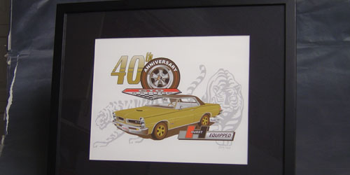 1965 40th Anniversary GTO Print, with GTO design. 11 X 14 inch, suitable for framing.
