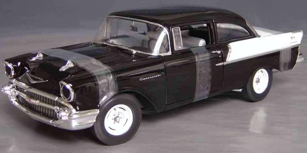1957 chevrolet 150 black widow factory race car details diecast