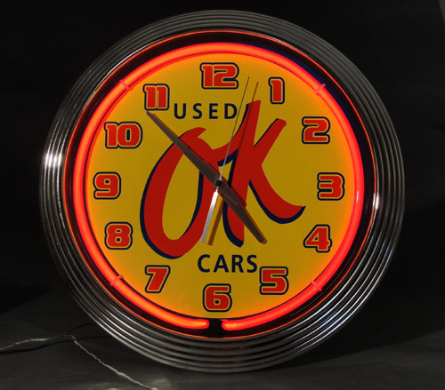 Clock Chevrolet Sales, OK Used Cars Neon Clock