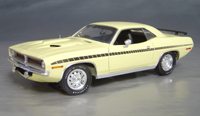 Click image to see more information about our 1970 Plymouth Cuda Yellow chase/black strobe!