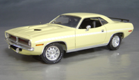 Click image to see more information about our 1970 Plymouth Cuda Yellow chase/white strobe!
