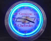 """Genuine Chevrolet"" Neon Clock"