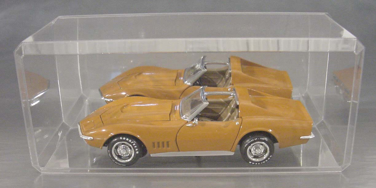1/18th Clear Acrylic Display Case With Beveled Edges and with a Mirrored Bottom Base, Stackable, High Quality, large view shows car on side to mirrow pass side