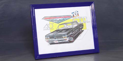 40 Anniversary GTO, Print Design, 11 X 14 inch, suitable for framing - NUMBERED, ONLY 126 Made -  (frame not include)